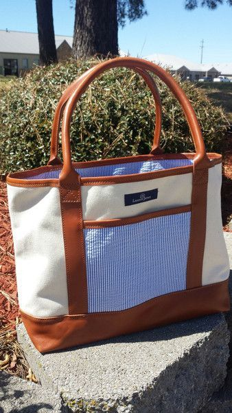 The Seersucker Weekender Tote by Lauren James is an AMAZING  Made in America tote that will last a lifetime!!  grab one today in pink, blue or mint seersucker! #laurenjames #seersucker #weekendertote shoplaurenjames.com
