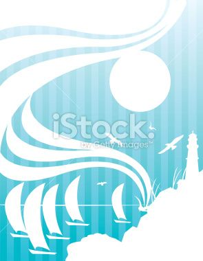 Sailboats and Lighthouse Background Royalty Free Stock Vector Art Illustration