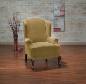 Hanover Camel Wing Chair Slipcover, Yellow chair, gold furniture, trendy home decor