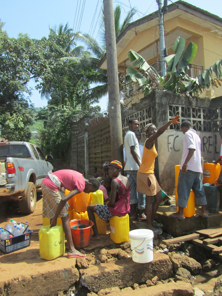 YMCA of Sierra Leone receiving fresh water
