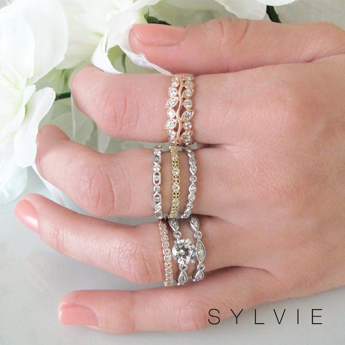 Beautiful Wedding Band By Sylvie In 2020 Stackable Wedding Bands Diamond Wedding Bands Bridal Engagement Rings