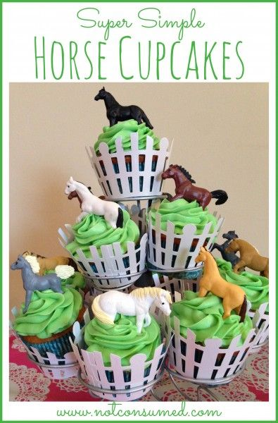 Super Simple Horse Cupcakes anyone can make! Plus many other horse party ideas.