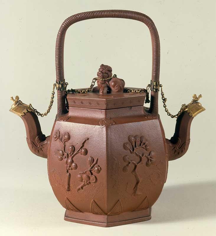 Dobbelt-tekande til to slags te på samme tid. Kinesisk potte af rødbrunt stentøj (yixing yao) fremstillet i Jiangsu-provinsen før 1656.