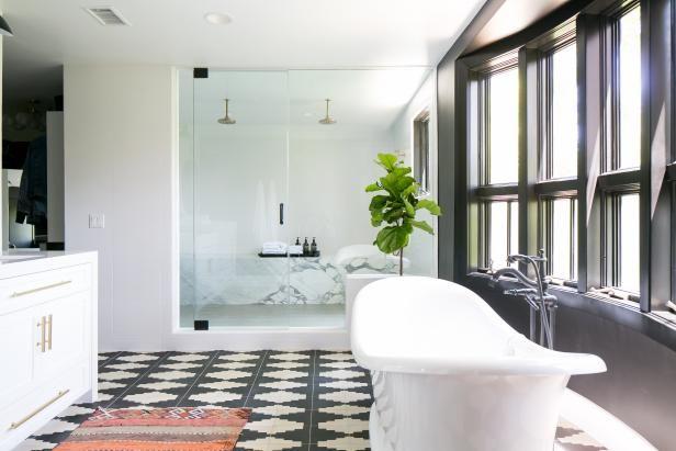 Bathroom With Bold Tile | HGTV >> http://www.hgtv.com/design-blog/design/meet-hgtv-faces-of-design-editors--pick-winners?soc=pinterest