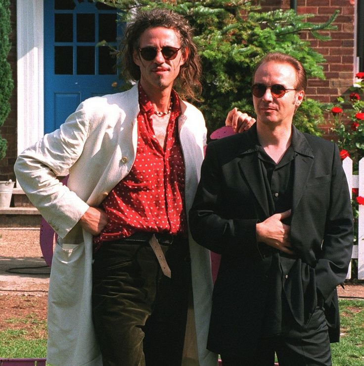 Sir Bob Geldof poses with Midge Ure on the set of the Big Breakfast on the tenth anniversary of Live Aid
