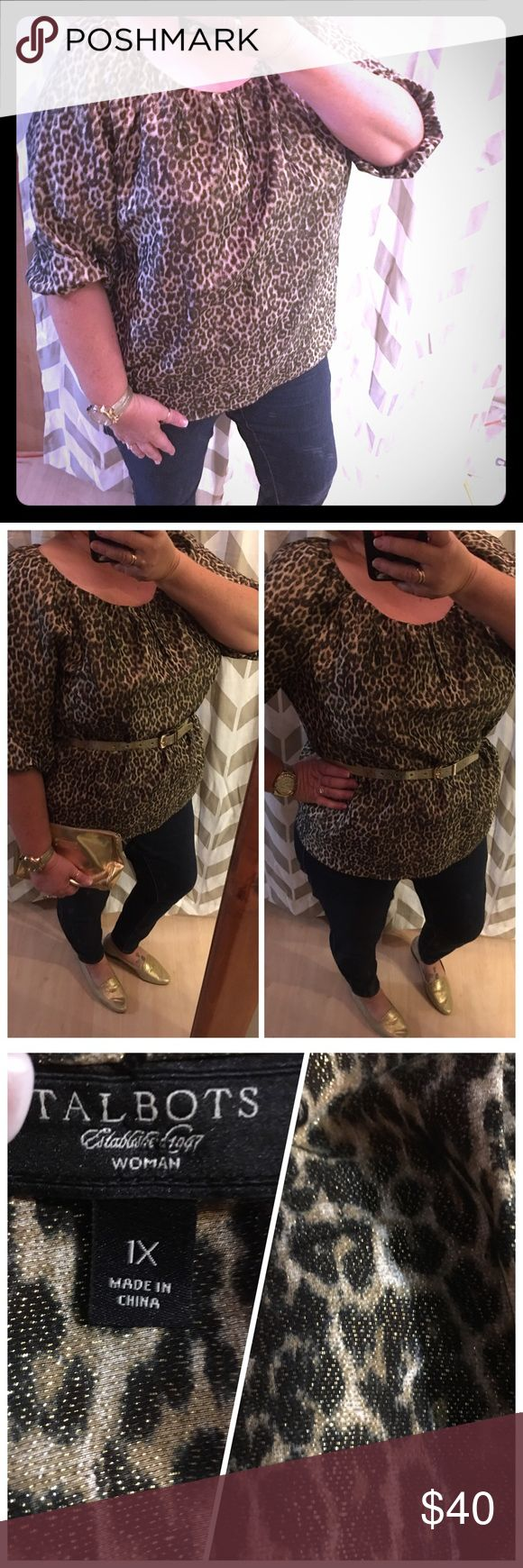 🛍Just In🛍 Talbots Leopard Print Sparkly Blouse This is a beautiful blouse the pictures really can't show how pretty it is.  Wore it just once to a holiday party.  It's 3/4 sleeves with a scoop type neck Talbots Tops Blouses