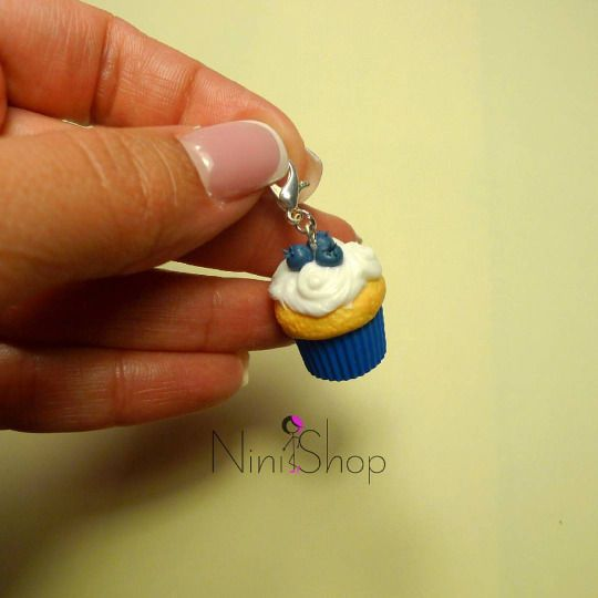 Blueberry Cupcake Charm Handmade cupcake charm made from polymer clay
