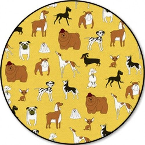 Breeds Of Dogs Seamless Pattern Minimalism Vector Illustration Round Rugs
