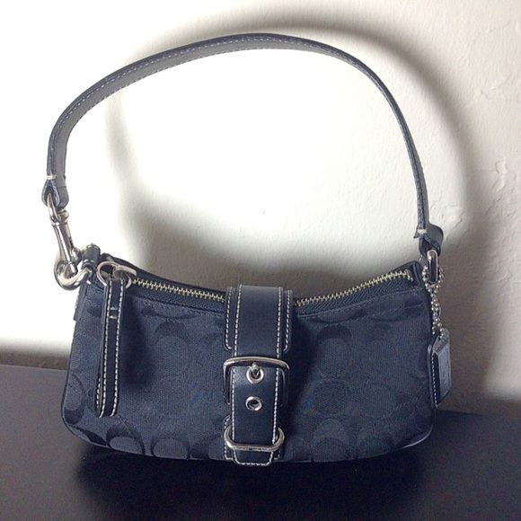 "HOST PICK: 1/5/16Classic Black Coach Purse Black Coach purse, imprinted with classic ""C"" print. Beautiful, small, everyday bag! Coach Bags"