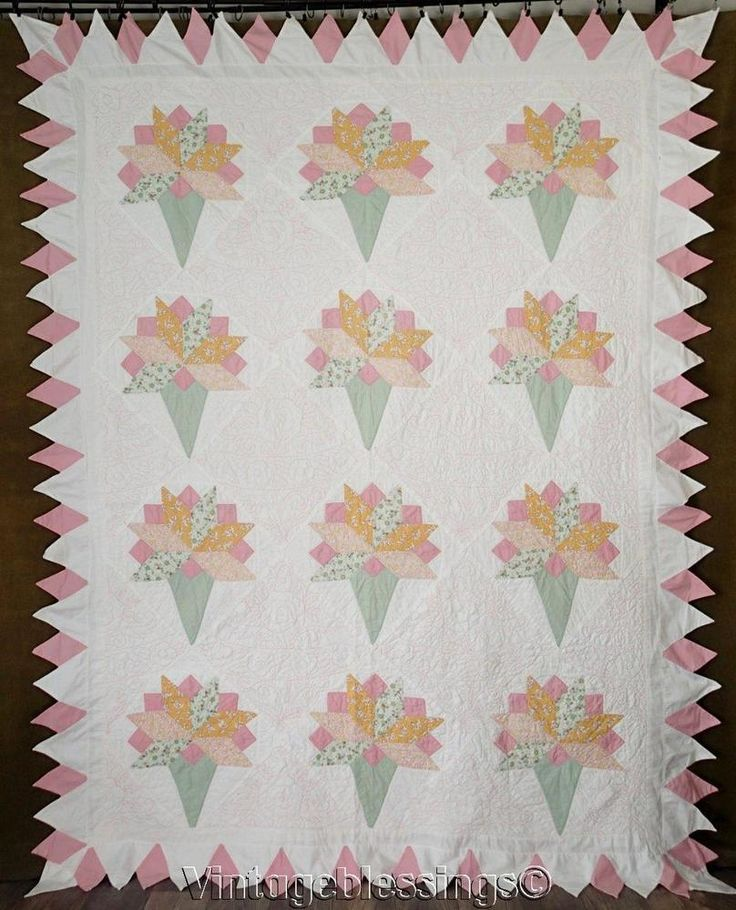 "Beautiful VINTAGE Bridal Bouquet or Nosegay QUILT 92x71"" Lovely Pastels"