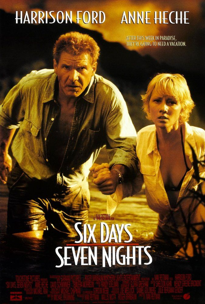 Directed by Ivan Reitman.  With Harrison Ford, Anne Heche, David Schwimmer, Jacqueline Obradors. Robin Monroe, a New York magazine editor, and the gruff pilot Quinn Harris must put aside their mutual dislike if they are to survive after crash landing on a deserted South Seas island.
