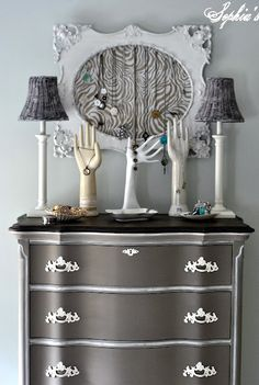 Color: Coco, Annie Sloan Chalk Paint. Beautifully redone dresser from Sophia's.