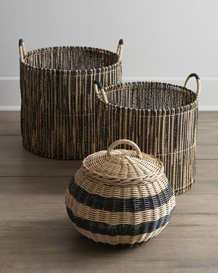 Woven Baskets with Black Accents - Horchow