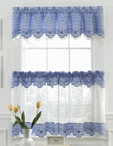 Provence is a deluxe curtain program made of semi-sheer, faux linen fabric, pieced with a gingham trim richly embellished with floral embroidery, double layered valance so incorporate both fabrics to complete the luxurious ensemble. #Cafe #Tier #Curtains