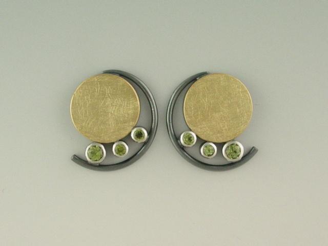 earrings - oxidized sterling silver, 18kt yellow gold, peridot