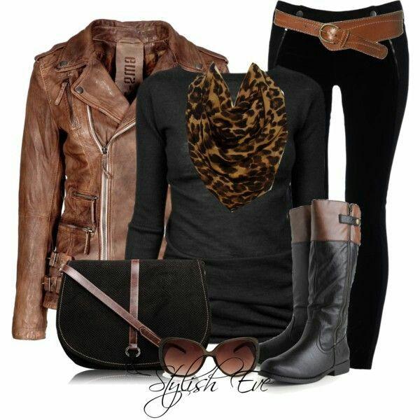 Conjunto negro y marrón
