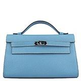 Hermes Mini Kelly Pouchette 22cm light blue silver
