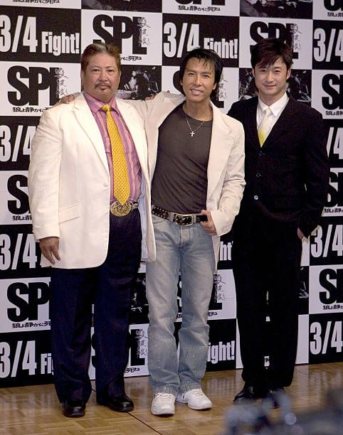 Sammo Hung KamBo Donnie Yen and Wu Jing during 'SPL' Tokyo Press Conference at Capitol Tokyu Hotel in Tokyo Japan