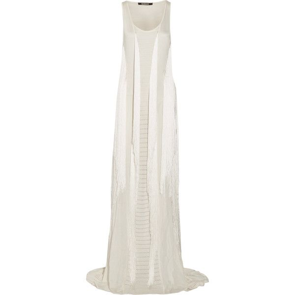 Roberto Cavalli Cutout fringed stretch-knit gown ($1,847) ❤ liked on Polyvore featuring dresses, gowns, ivory, white cutout dresses, cut out back dress, white ball gowns, petite dresses and ivory dress