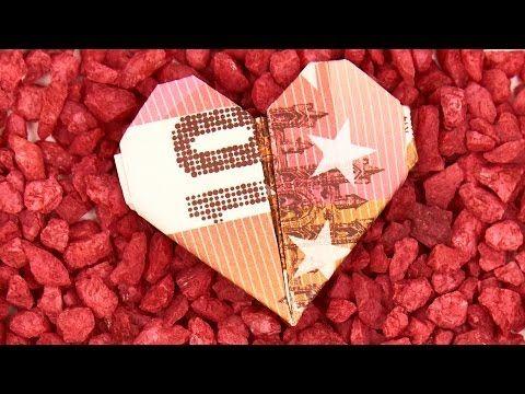 Geld Herz falten, Anleitung um einfach ein HERZ aus GELD zu basteln, 4K - YouTube