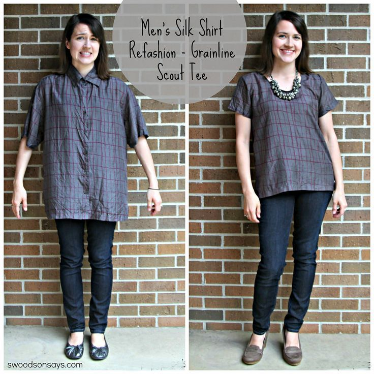 Scout Tee – Silk Man's Button Up Shirt Refashion from Swoodson Says