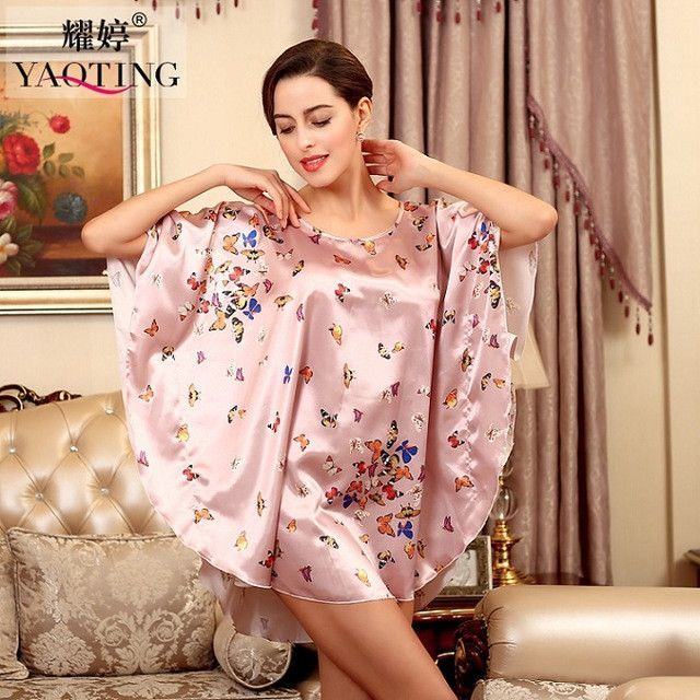 Women Faux Silk Pajama Sleep Top Lounge Ladies Female Plus Size Dressing Gowns For Women