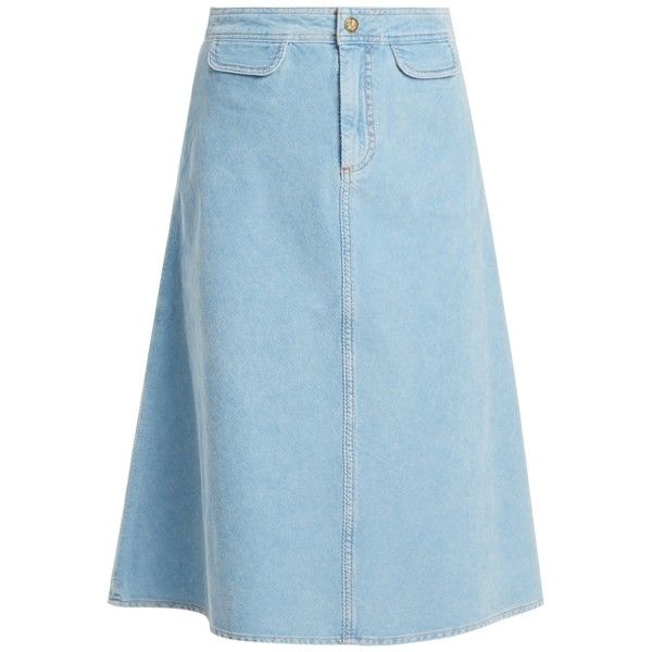 M.i.h Jeans Byron A-line cotton-corduroy midi skirt (12.755 RUB) ❤ liked on Polyvore featuring skirts, light blue, cotton skirts, blue midi skirts, calf length skirts, cotton knee length skirt and blue cotton skirt