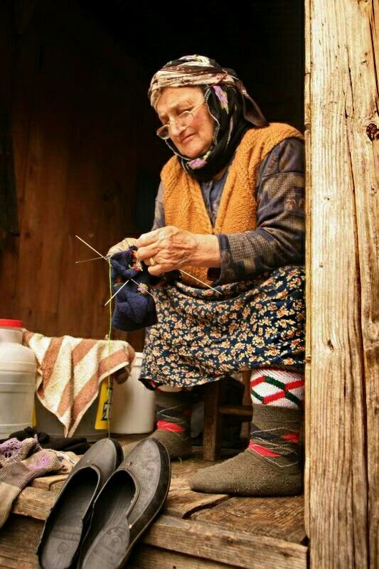 Knitting Warm Socks . Turkey