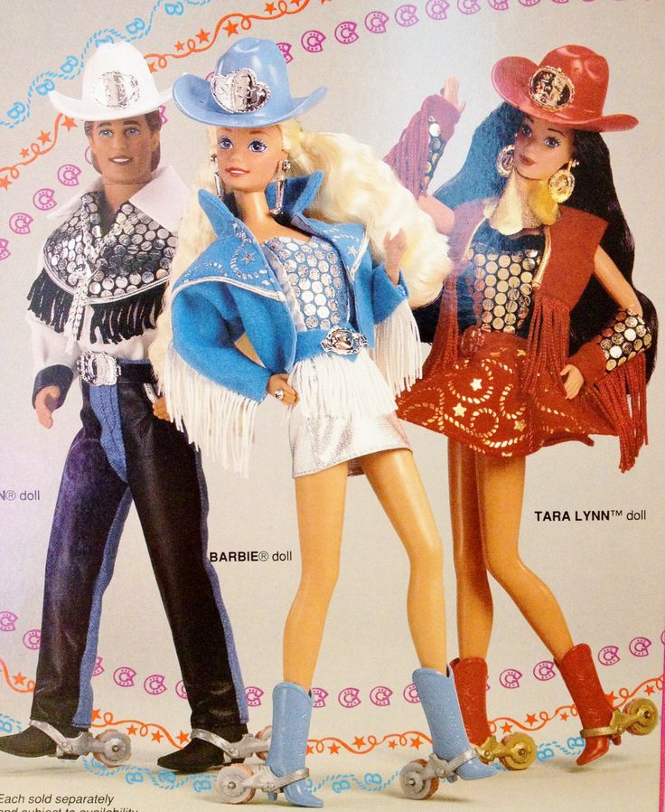 """1993 Western Stampin' Barbie, Ken & Tara Lynn ~ """"Barbie and her friends like to ride, dance and stomp fun trails in their glitzy Western wear. Barbie sparkles with glamour. Ken is the coolest dude in the West. And their beautiful friend, Tara Lynn, is absolutely sensational in red! Together, they blaze fun trails in boots that really stamp!"""""""