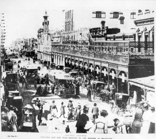 1903 Christmas and New Year shopping in Smith Street Fitzroy/Collingwood. Melbourne Australia