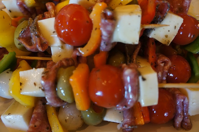 Marinated anti- pasta kabobs from pine creek style