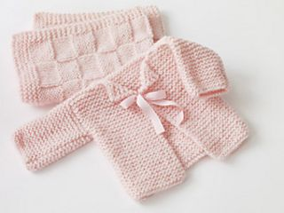 This simple garter stitch sweater is a perfect mate for the Baby Blankie. (Lion Brand Yarn)