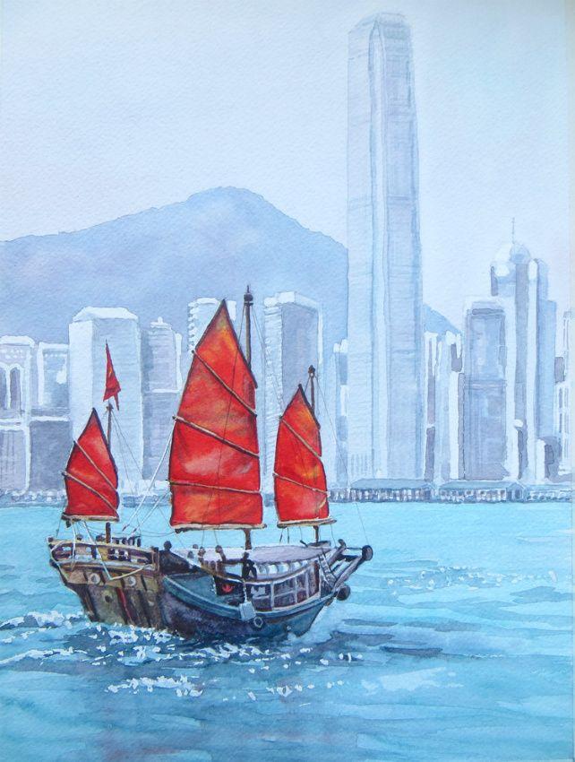 """September 2016 ArtTutor Challenge Winner - """"Chinese Sailboat"""" by Gill Farquharson"""