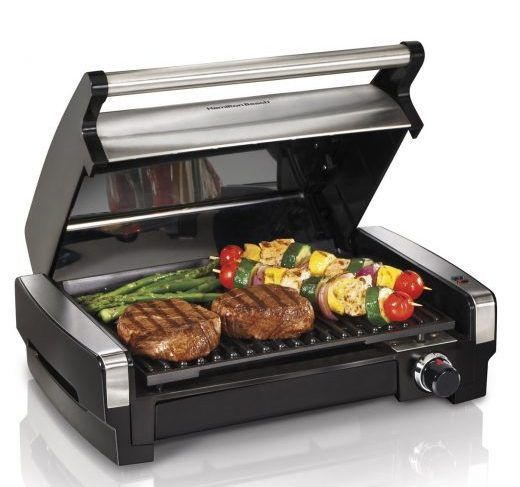 best indoor electric grill - Hamilton Beach 25360 Indoor Flavor:Searing Grill. You can probably tell that we're partial to contact grills, but this Hamilton Beach open grill is a good performer – and the way it's built can almost make you feel like you're cooking outdoors, because the cover is an attached (but removable) hood just like the one on your gas grill.