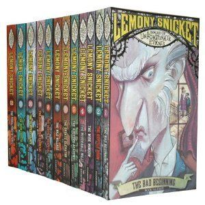 A Series of Unfortunate Events Series ; The Bad Beginning, The Reptile Room, The Wide Window, The Miserable Mill, The Austere Academy, The Ersatz Elevator, The Vile Village, The Hostile Hospital, The Carnivorous Carnival, The Slippery Slope, The Grim Grotto, The Penultimate Peril, The End - Lemony Snicket