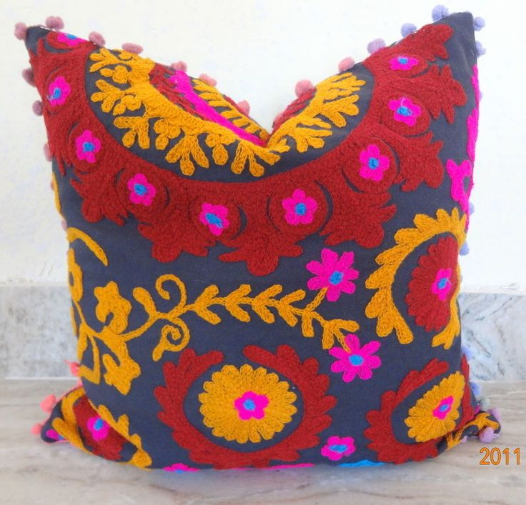 Vintage Suzani Cushion Cover Embroidered 16x16'' Indian  Pillow Case Decorative1 #Handmade