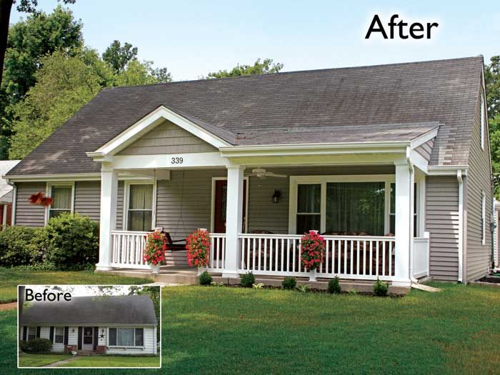 Addition front porch addition home remodelers st louis covered     Addition front porch addition home remodelers st louis covered exterior  facelift breezeway curb appeal new two car garage   house facelift    Pinterest