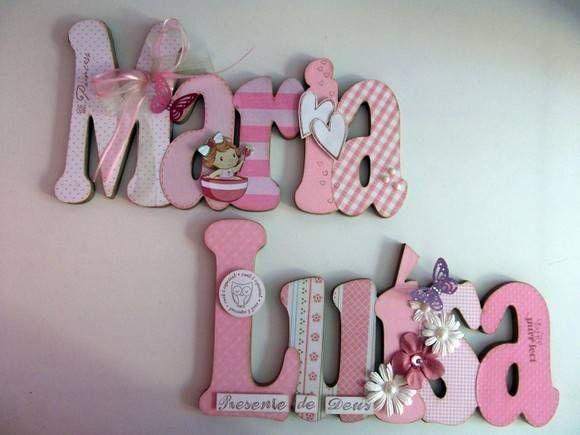 Nome em MDF, decorado em papel de scrap.  Pode ser utilizado para decorar quarto, porta de maternidade e festa infantil.  fazemos nas cores desejadas R$ 112,00