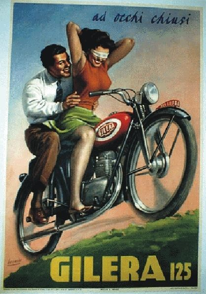 """TARGA VINTAGE """"MOTO GILERA 125 """" AD OCCHI CHIUSI """"Pubblicità,Poster, Advertising"""