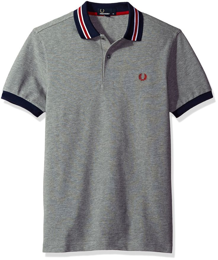 Fred Perry Men's Bomber Stripe Collar Pique Shirt, Steel Marl, Large