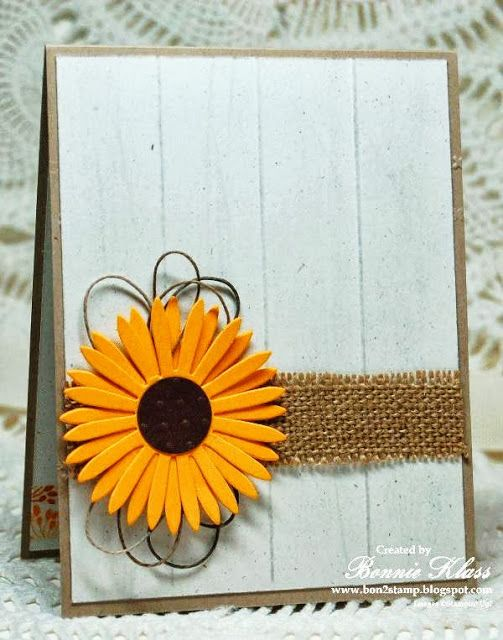 handmade greeting card from Stamping with Klass ... die cut sunflower with lots of layered petals .. burlap ribbon band ... white wood slat background ... clean and simply lovely ...