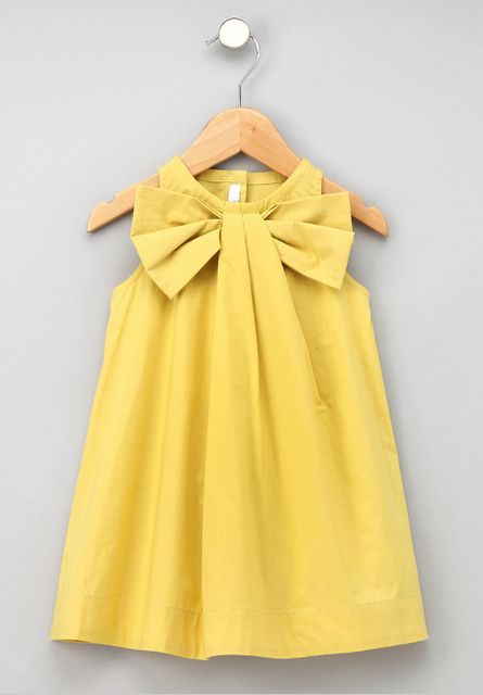 I would totally wear this child's dress -- not as a dress, but as a top.  Very cute.  @Christina Patzman any thoughts on recreating this?  It looks like a pleated A-line tank with a bow tucked into the pleat.  No?