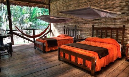 Guests Can Sleep Among the Trees in Peru's Posadas Amazonas Jungle Lodge...I'm not sure I could sleep there, but what a cool concept!
