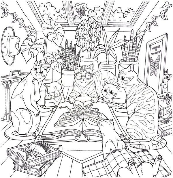 Cat Coloring Therapy Coloring Book Download Cat Coloring Book Coloring Books Cool Coloring Pages