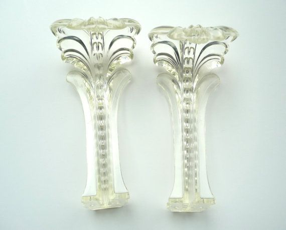 Vintage Curtain Tie Backs Clear Plastic Art Deco Acanthus