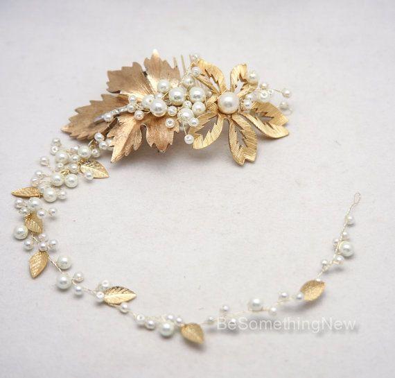 Oro nozze capelli Vine perline Fascia nuziale di perle e un Vintage Broach uno di un tipo oro capelli sposa accessori, sposa Vintage