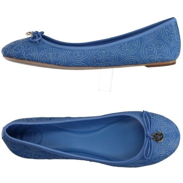 Tory Burch Ballet Flats ($175) ❤ liked on Polyvore featuring shoes, flats, sky blue, ballet pumps, leather sole flats, ballerina flat shoes, leather ballet shoes and leather flats