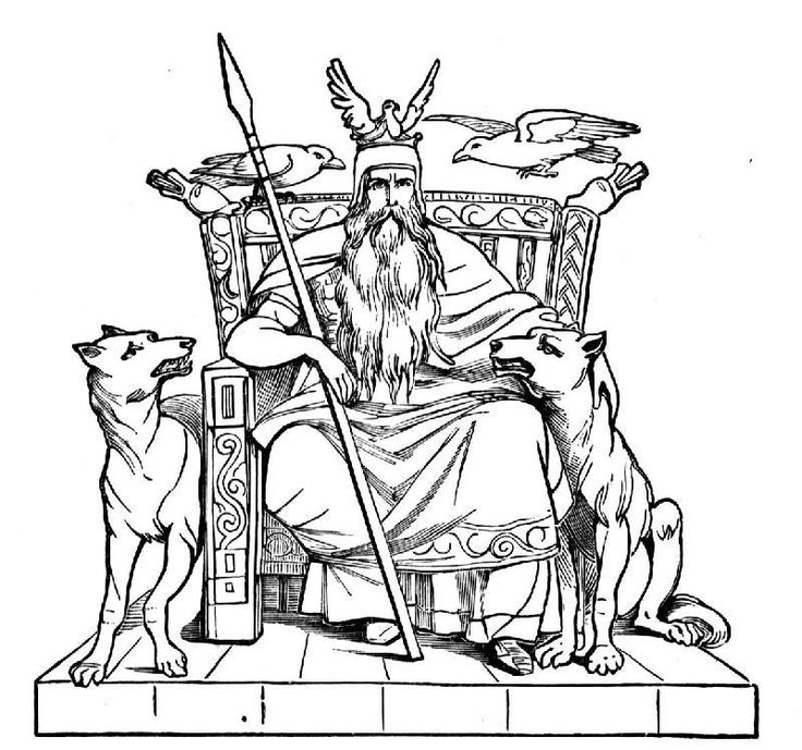 Odín dios vikingo en su trono