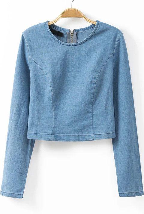Blue Long Sleeve Zipper #Crop #Blouse - #Sheinside