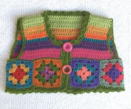 Colourful Crochet Vest 18mths - 3 yrs - by artandwool on madeit